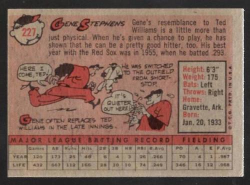 1958 Topps, Baseball Cards, Topps, Gene Stephens, Red Sox