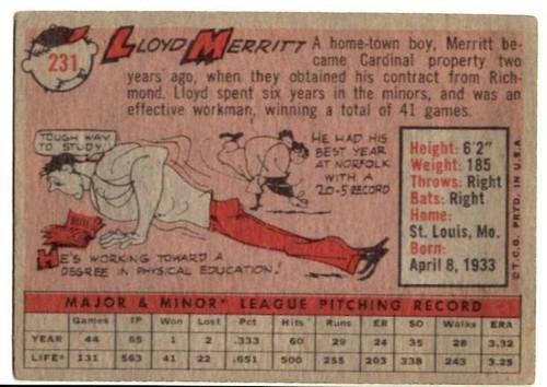 1958 Topps, Baseball Cards, Topps, Lloyd Merritt, Cardinals