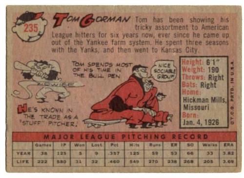1958 Topps, Baseball Cards, Topps, Tom Gorman, A's