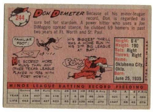 1958 Topps, Baseball Cards, Topps, Don Demeter, Dodgers