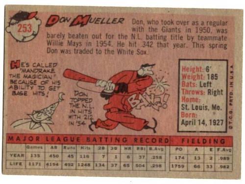 1958 Topps, Baseball Cards, Topps, Don Mueller, Giants