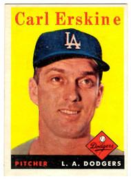 1958 Topps, Baseball Cards, Topps, Carl Erskine, Dodgers