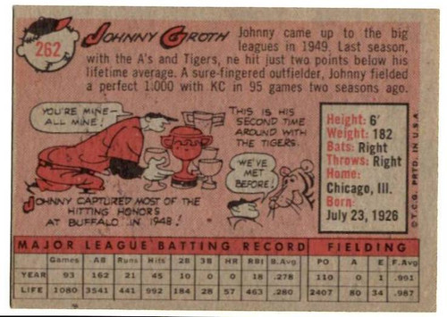 1958 Topps, Baseball Cards, Topps, Johnny Groth, Tigers