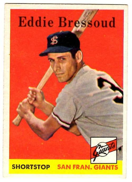 1958 Topps, Baseball Cards, Topps, Eddie Bressoud, Giants