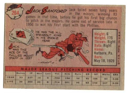 1958 Topps, Baseball Cards, Topps, Jack Sanford, Phillies