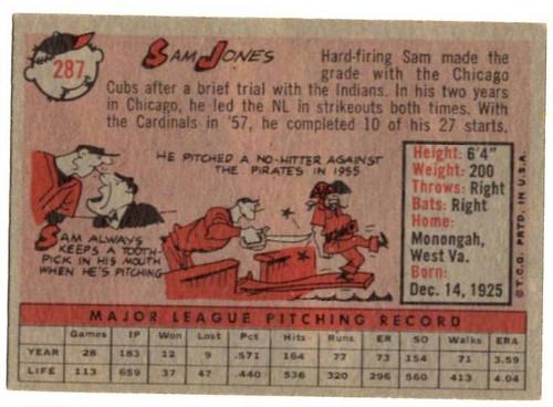 1958 Topps, Baseball Cards, Topps, Sam Jones, Cardinals