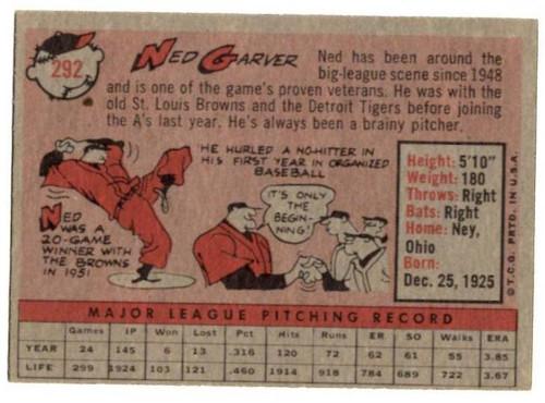 1958 Topps, Baseball Cards, Topps, Ned Garver, A's