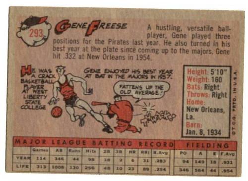 1958 Topps, Baseball Cards, Topps, Gene Freese, Pirates