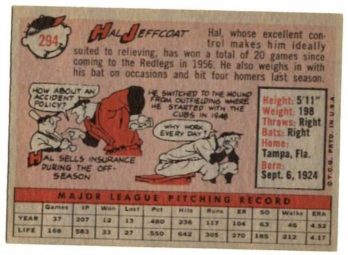 1958 Topps, Baseball Cards, Topps, Hal Jeffcoat, Redlegs, Reds