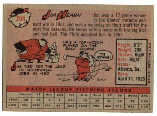 1958 Topps, Baseball Cards, Topps, Jim Hearn, Phillies