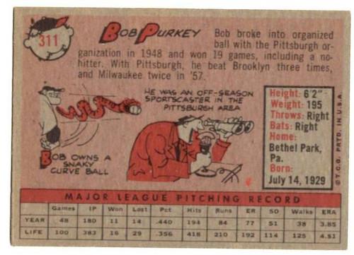 1958 Topps, Baseball Cards, Topps, Bob Purkey, Redlegs, Reds