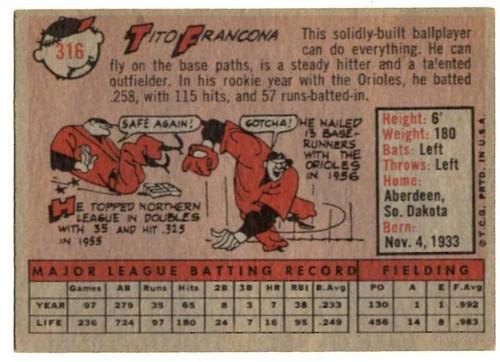 1958 Topps, Baseball Cards, Topps, Tito Francona, White Sox