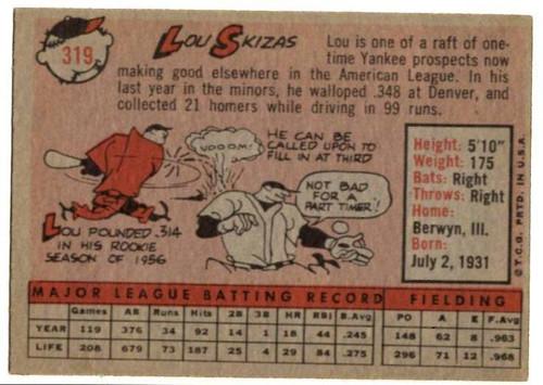 1958 Topps, Baseball Cards, Topps, Lou Skizas, Tigers