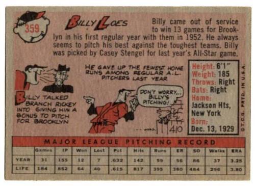 1958 Topps, Baseball Cards, Topps, Billy Loes, Orioles
