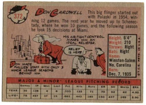 1958 Topps, Baseball Cards, Topps, Don Cardwell, Phillies