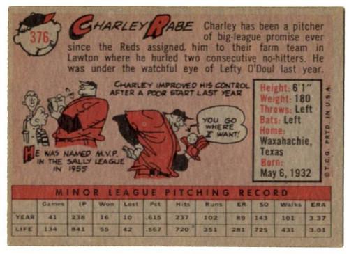 1958 Topps, Baseball Cards, Topps, Charley Rabe, Redlegs, Reds