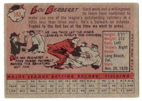 1958 Topps, Baseball Cards, Topps, Lou Berberet, Red Sox
