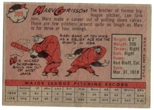 1958 Topps, Baseball Cards, Topps, Marv Grissom, Giants