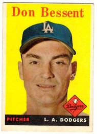 1958 Topps, Baseball Cards, Topps, Don Bessent, Dodgers