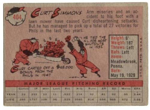 1958 Topps, Baseball Cards, Topps, Curt Simmons, Phillies