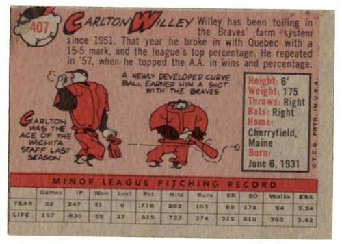 1958 Topps, Baseball Cards, Topps, Carlton Willey, Braves