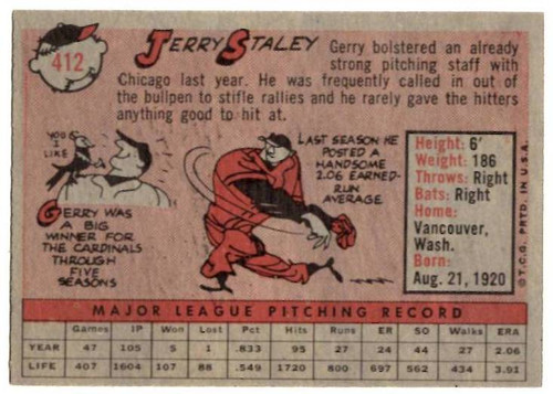 1958 Topps, Baseball Cards, Topps, Jerry Staley, White Sox