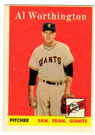 1958 Topps, Baseball Cards, Topps, Al Worthington, Giants