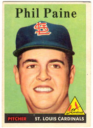 1958 Topps, Baseball Cards, Topps, Phil Paine, Cardinals