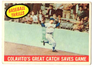 1959 Topps, Baseball Cards, Topps, Rocky Colavito, Baseball Thrills, Indians, Colavito's Great Catch