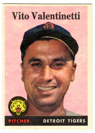 1958 Topps, Baseball Cards, Topps, Vito Valentinetti, Tigers