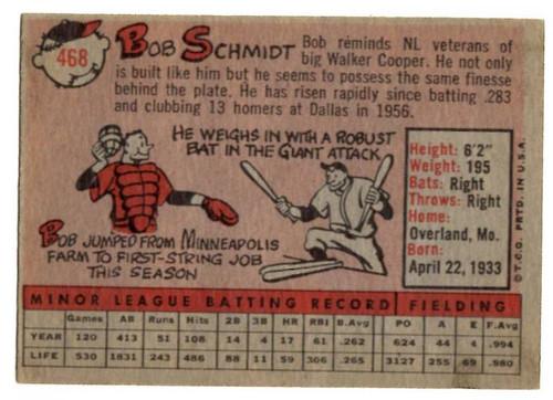 1958 Topps, Baseball Cards, Topps, Bob Schmidt, Giants, RC, Rookie