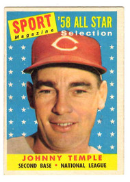 1958 Topps, Baseball Cards, Topps, Johnny Temple, Reds, Sport Magazine, '58 All Star
