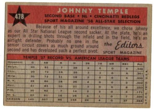 1958 Topps, Baseball Cards, Topps, Johnny Temple, Reds, Sport Magazine, '58 All Star