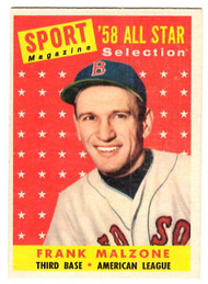 1958 Topps, Baseball Cards, Topps, Frank Malzone, Red Sox, Sport Magazine, '58 All Star