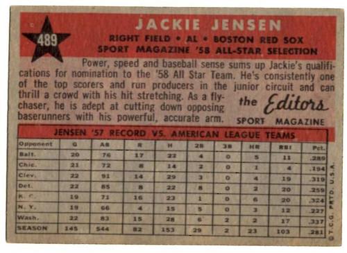 1958 Topps, Baseball Cards, Topps, Jackie Jensen, Red Sox, Sport Magazine, '58 All Star