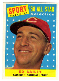 1958 Topps, Baseball Cards, Topps, Ed Bailey, Reds, Sport Magazine, '58 All Star