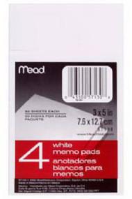 50ct Wht 4pk Memo Pad