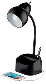 Blk Organizer Desk Lamp