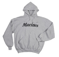 U. S. MARINE CORPS Marines Pullover Hooded Sweatshirt GRAY