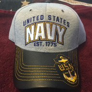 U. S. Navy Official Hat Logo & Letters HEATHER LEATHER