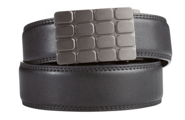 Cardiff Buckle in Gunmetal with Black Leather