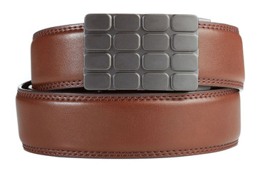 Cardiff Buckle in Gunmetal with Brown Leather
