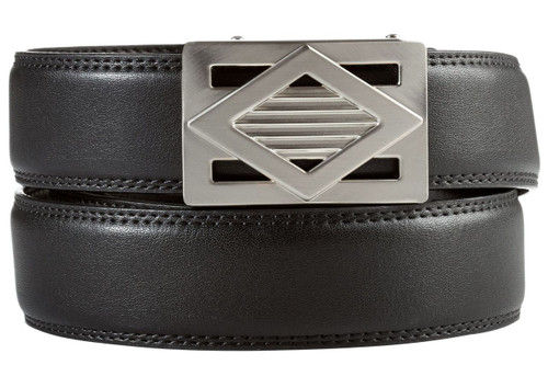 Del Mar Buckle in Silver Nickel with Black Leather