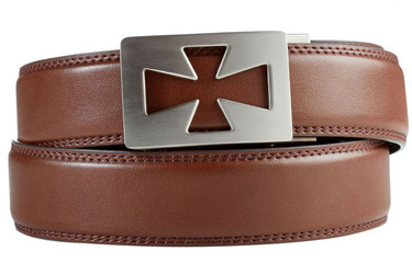 Ventura Buckle in Silver Nickel with Brown Leather