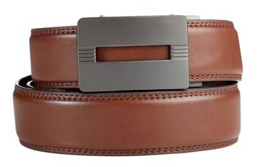Malibu Buckle in Gunmetal with Brown Leather