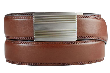 Monterey Buckle in Silver Nickel with Brown Leather