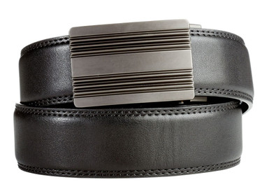 Monterey Buckle in Gunmetal with Black Leather