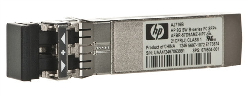 HPE AJ716B 8Gbps SFP+ Fiber Channel ShortWave Plug in Module Wired Transceiver Module