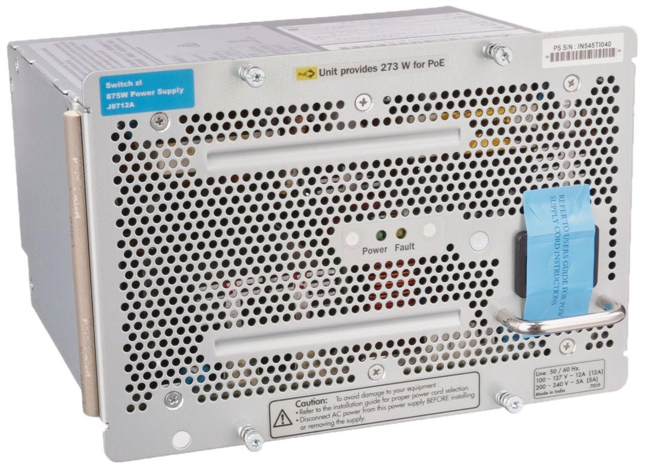 Hpe J8712a 875 Watt Power Supply For Procurve 48g 5406 Zl Switch 2 Switching Ac 100 127 200 240 Volt