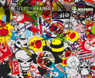 Sticker Bomb Stickerbomb Generic Pepsol Racing Pattern Big Brain Graphics Colorful Hydrographics Pattern White Base Quarter Reference